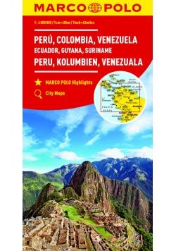 Peru Kolumbia Wenezuela Ekwador Gujana Surinam 1:4 000 000