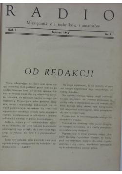 Radio miesięcznik dla techników i amatorów, 1946r.