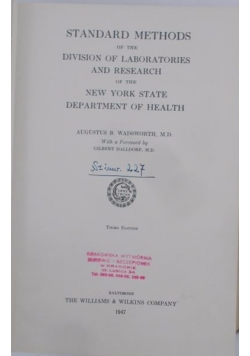 Standard Methods of the division of laboratories and research, 1947 r.