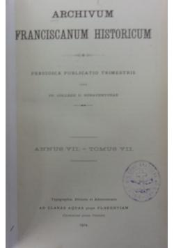 Archivum Francise Historicum, VII. 1914 r.