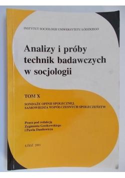Analizy i próby technik badawczych w socjologii, tom X