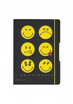 Notatnik A4/2x40K kratka+linia Smiley Black