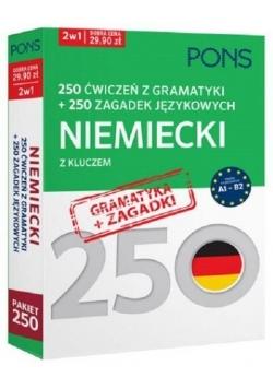 250 ćwiczeń/250 zagadek gramatyka. Niemiecki 2w1