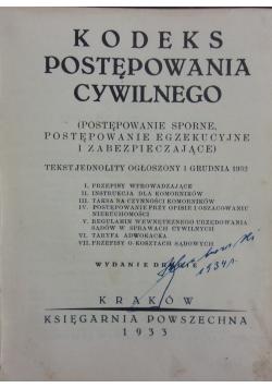 Kodeks postępowania cywilnego, 1933r.