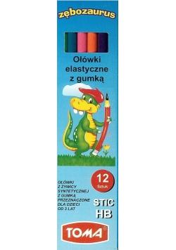Ołówki elast. Stic kolorowe HB z gumką (12szt)TOMA