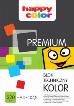 Blok techniczny kolor A4/10K Premium HAPPY COLOR