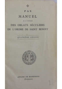 Des Oblats seculiers de L'orde de saint benoit, 1930 r.