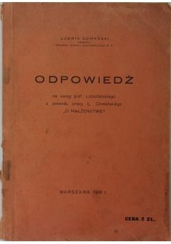 Odpowiedź, 1932r.