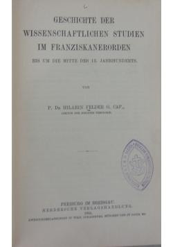 Geschichte der wissenschaftlichen studien im franziskanerorden, 1904 r.