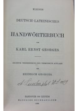 Kleines deutsch-lateinisches handwoeterbuch, 1898r.
