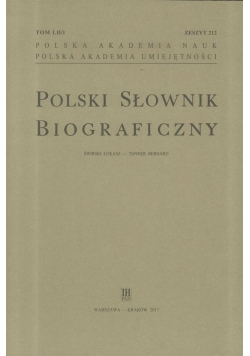Polski Słownik Biograficzny z.212 T.52/1