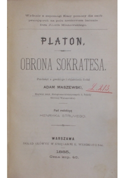 Obrona Sokratesa, 1885 r.