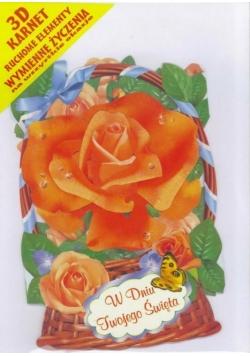 Karnet składany 3D - Róża pomaranczowa w koszyku