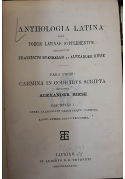 Anthologia latina, 1929 r.