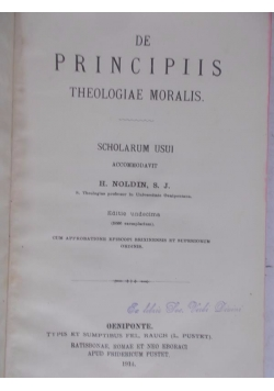 De Principiis Theologiae Moralis, 1914 r.