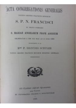 Acta Congregationis Generalis, 1909 r.