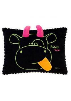 Krówka Funny black poduszka zielona