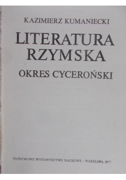 Literatura rzymska. Okres cyceroński