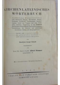 Kirchenlateinisches wörterbuch, 1926 r.