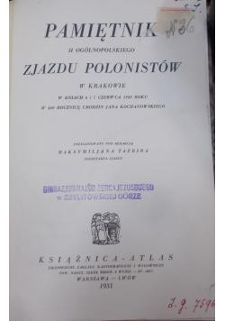 Pamiętnik II ogólnopolskiego zjazdu Polonistów w Krakowie,1931r