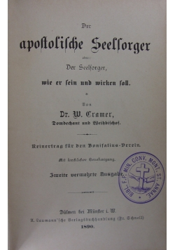 Der apostolische Seelsorger, 1890 r.