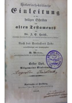 Historisch-kristische Finleitung, 1840r.