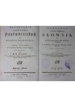 Dokładny polsko- niemiecki/niemiecko-polski słownik do podręcznego użycia dla Niemców i Polaków, 1836r.