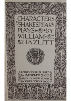 Characters of Shakespears , 1906 r.