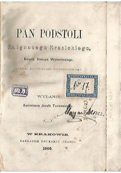 Pan podstoli, 1860