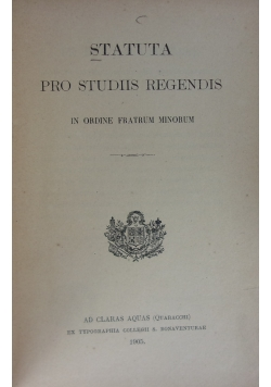 Statuta pro studiis regendis 1905 r.