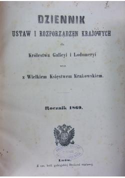 Dziennik Ustaw i Rozporządzeń Krajowych dla Królestwa Galicyi i Lodomeryi, 1869r.
