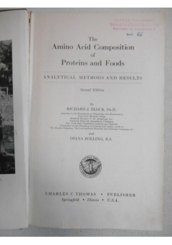 Amino Acid Composition of Proteins and Foods
