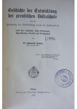 Geschichte der Entwicklung der preußischen Volksschule, 1910 r.