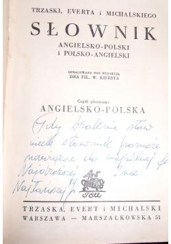 Nowy słownik Angielsko-polski i polsko-angielski, 1950 r.