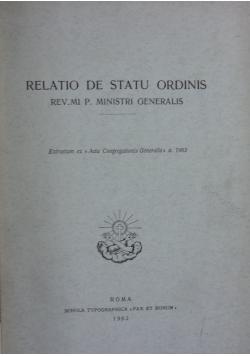 Relatio de statu ordinis