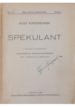 Spekulant, 1920r.