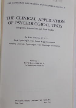 The clinical application of Psychological tests, 1948 r