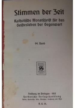 Stimmen der Zeit. Katholische Monatsschrift für das Geistesleben der Gegenwart, 1918 r.