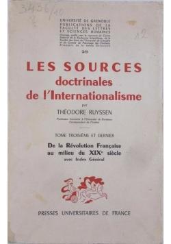 Les Sources doctrinales de l'Internationalisme
