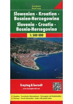Słowenia Chorwacja Bośnia Mapa 1:500 000