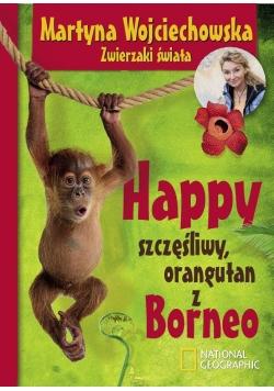 Happy szczęśliwy orangutan z Borneo