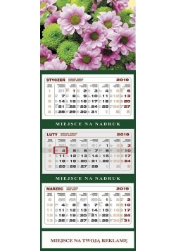 Kalendarz 2019 Ścienny Trójdzielny Kwiaty