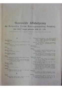 Skorowidz Alfabetyczny do Dziennika Ustaw Rzeczypospolitej Polskiej Roku 1924-drugie półrocze