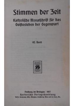 Artikelversionen Stimmen der Zeit. Katholische Monatsschrift für das Geistesleben der Gegenwart, 1917 r.