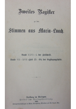 Zweites regifter zu den stimmen aus Maria Laach, 1899r.