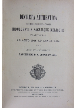 Decreta Authentica. Sacrae congregations, 1883 r.