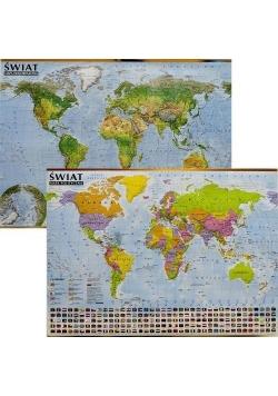 Świat. Mapa polityczna i krajobrazowa (listwa)