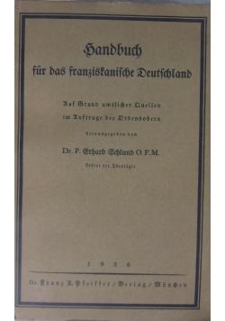 Bandbuch fur das franziskanische Deutschland ,1926r.
