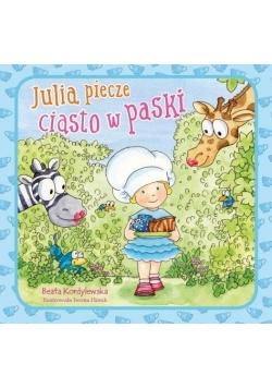 Julia piecze ciasto w paski