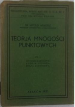 Teorja mnogości punktowych, 1933 r.